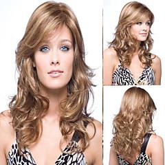 peruca loira sem tampa longo de alta qualidade natural cabelo encaracolado sintéticas com estrondo lado