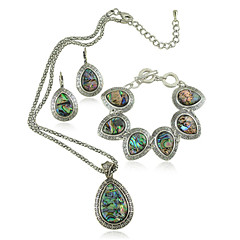 Vintage Shell Jewelry Set Metal with Antique Silver Plated Drop Shell Necklace Earring and Bracelet Set