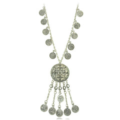 3 Model Choice Vintage Silver Plated Boho Style Geometry Coins and Tassel Pendant Necklace for Woman Jewelry