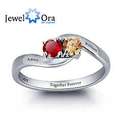 Noble Personalized Love Promise Ring Simple 925 Sterling Silver Cubic Zirconia Ring For Women