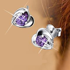 S925 Fine Silver Purple Crystal Heart Shape Stud Earrings