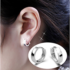 S925 Fine Silver  Hoop Earrings for Men&Women,Fine Jewelry(width:3.5mm)