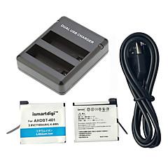 ismartdigi מטען USB גיבור 401 סוללה 2pcs 3.8v 1160mah + מטען ערכת 2 סוללה GoPro עבור GoPro 4