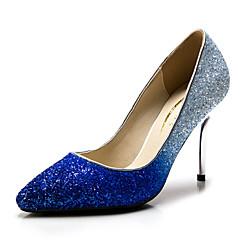 נעלי נשים - בלרינה\עקבים - סינטתי / נצנצים - עקבים / שפיץ - כחול / כסוף / זהב - חתונה / מסיבה וערב / שמלה - עקב סטילטו