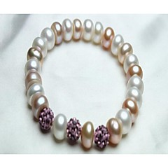 Natural freshwater pearl inlay diamond pearl bracelet