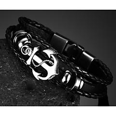 צמידים שרשרת וצמידים עור Party / יומי / קזו'אל / ספורט תכשיטים מתנות שחור,1pc