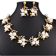 MISSING U Women Cute / Party Gold Plated / Alloy / Rhinestone / Imitation Pearl Necklace / Earrings Jewelry Sets