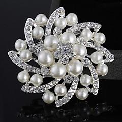 여성 펄 모조 진주 은 도금 모조 다이아몬드 합금 패션 보석류 결혼식 파티 캐쥬얼