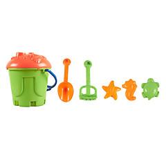 6-stykker strand sand spand legetøj sæt med spand, sand skovl, sand rake og 3 modeller