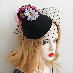 Femme / Jeune bouquetière Dentelle / Imitation de perle / Tissu Casque-Mariage / Occasion spéciale Chapeau 1 Pièce