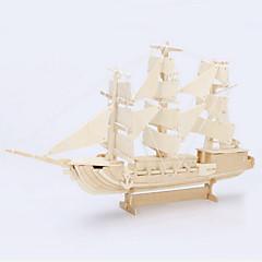 Quebra-cabeças Quebra-Cabeças 3D / Quebra-Cabeças de Madeira Blocos de construção DIY Brinquedos Navio Madeira BegeModelo e Blocos de