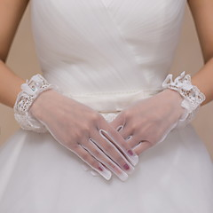 Wrist Length Fingertips Glove Lace / Tulle Bridal Gloves / Party/ Evening Gloves Ivory Bow / lace