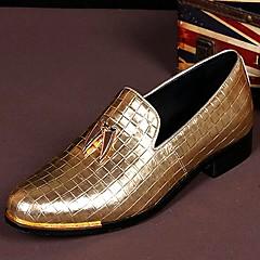 מוקסינים גברים של נעליים חתונה / מסיבה וערב עור זהב