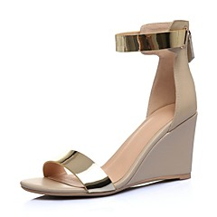 נעלי נשים-סנדלים-עור-פלטפורמות-שחור / Almond-חתונה / שמלה / מסיבה וערב-עקב וודג'
