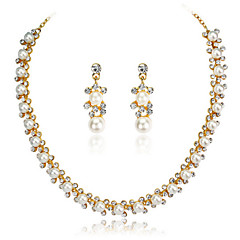 Women's 18k Gold White/Black/Pink Pearl Statement Necklace Earrings Jewelry Set for Wedding Party
