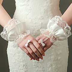 Wrist Length Fingerless Glove Nylon / Elastic Satin Bridal Gloves / Party/ Evening Gloves