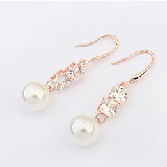 High Quality Rhinestone White Pink Imitation Round Pearl Pierced Ear Stud Earrings Women Fashion Crystal Jewelry
