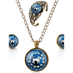 Lureme® Time Gem The Zodiac Series Vintage Leo Pendant Necklace Stud Earrings Hollow Flower Bangle Jewelry Sets
