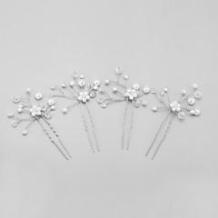 נשים / נערת פרחים קריסטל / סגסוגת / דמוי פנינה כיסוי ראש-חתונה / אירוע מיוחד סיכת שיער 4 חלקים ברור עגול