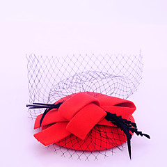 Women's / Flower Girl's Feather / Flannelette / Net Headpiece-Wedding / Special Occasion / Outdoor Fascinators 1 Piece