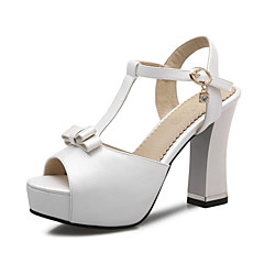 Women's Shoes Leatherette Chunky Heel Heels Sandals / Heels Wedding / Party & Evening / Dress / Casual Blue / Pink