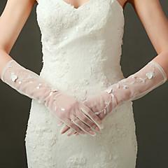 Até o Cotovelo Com Dedos Luva Nailon Cetim Elástico Luvas de Noiva Luvas de Festa Primavera Verão Outono Miçangas