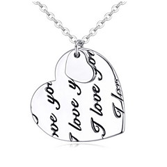 Fashion Lovely Cute Charm Women Silver Plated Heart Pendant Necklace Charming Lovers Jewelry