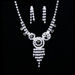 Takı Seti Kadın's Yıldönümü / Düğün / Nişan / Hediye / Parti / Özel Anlar Mücevher Setleri alaşım / Yapay Elmas Yapay ElmasKolczyki /