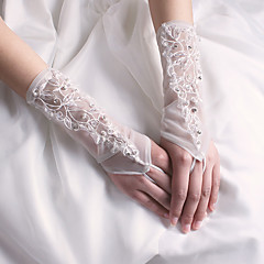 Wrist Length Fingerless Glove Nylon Bridal Gloves Party/ Evening Gloves Spring Summer Fall Winter Beading