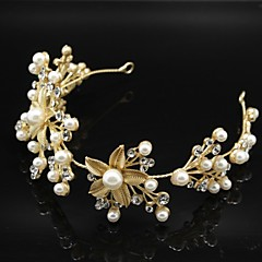 Golden Leaf Flower Hair Forehead Jewelry Fascinators for Wedding Party Decoration