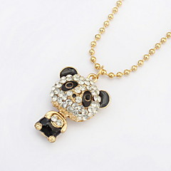 2016 Fashion Shinning Rhinestone Cute Panda Pendants Necklaces For Women Jewelry
