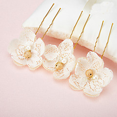Women's / Flower Girl's Lace / Pearl / Alloy Headpiece-Wedding / Special Occasion Hair Pin 2 Pieces