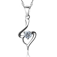 Real 925 Silver White Crystal Pendant Necklaces With Round Rhinestone Stone Women Plant Jewelry