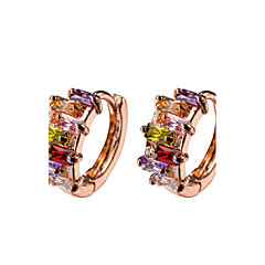 Rainbow Muliticolor AAA Zircon 18k Gold/Silver Hoop Stud Earrings