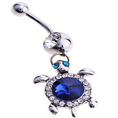 女性 ボディジュエリー へそボタンリング 純銀製 模造ダイヤモンド ユニーク ファッション ジュエリー ブルー ジュエリー 日常 カジュアル 1個