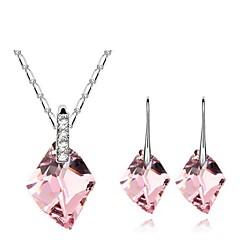 Conjunto de jóias Mulheres Diário Conjuntos de Joalharia Liga Cristal Brincos / Colares Branco