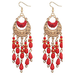 Elegant Bohemian National Wind Hollow Fringed Crescent Drop Earrings