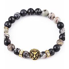 Unisex Persona Lionhead Beads  Agate Blcak Turquoise Bracelet