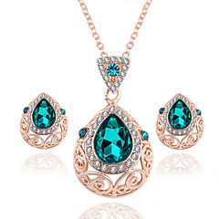 Droplets Pendant Rhinestones Crystal Necklace Female Earrings Jewelry Sets