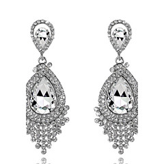 4 Color Available Drops Shape Cubic Zrconia Crystal Drop Earrings Jewelry for Lady(2.6*6.5cm)