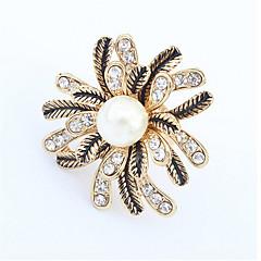 טבעות לנשים / לזוגות / יוניסקס חיקוי פנינה / ריינסטון סגסוגת סגסוגת מתכוונן זהב