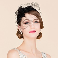 Women's Rhinestone / Tulle / Polyester Headpiece-Wedding / Special Occasion / Casual Fascinators / Birdcage Veils