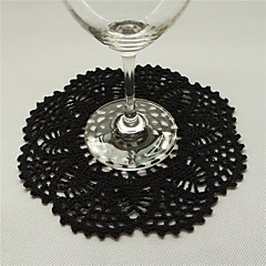 Retro Round Unique Black Cotton Tablemat Doilies With Flowers Coaster Placemats Vintage Wedding Decoration