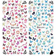 2 stuks nail design water transfer nagels sticker kleurrijke vlinder nagel wraps sticker watermerk vingernagels decals