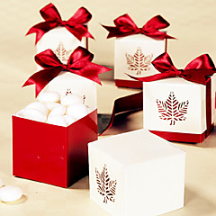 12 Piece/Set Favor Holder - Cubic Card Paper Favor Boxes Red Leaf Candy Box Women's Healthcare Non-personalised