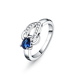 925 Silver Blue Drop zircon Statement Rings Wedding / Party / Daily / Casual 1pc