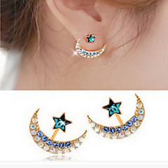 Stud Earrings Alloy Simulated Diamond Fashion Star Black Blue Golden Jewelry Daily Casual 1 pair
