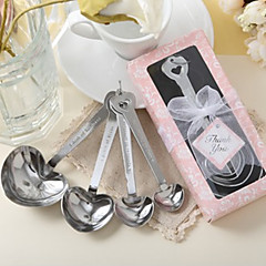 Heart Shaped Measuring Spoons in Pink Box Wedding Favor