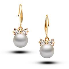 Flash Diamond Bow Pearl Earrings