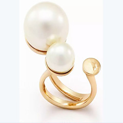 Ring Settings Pearl Pearl Gold Plated Double-layer Fashion Adorable Birthstones Golden Jewelry Wedding Party Daily Casual 1pc